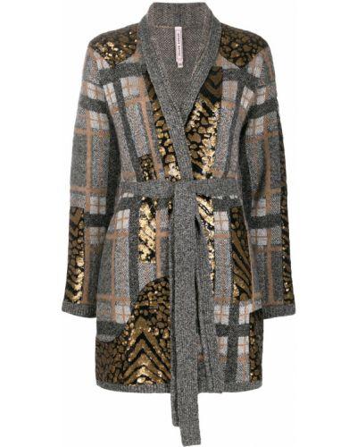 Длинное пальто без воротника с узором гусиные лапки Antonio Marras