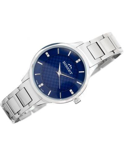 Niebieski szwajcarski zegarek srebrny Bisset