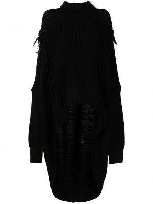 Черный топ с бахромой Yohji Yamamoto