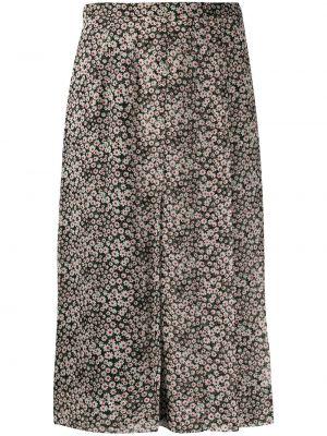 Czarna spódnica z jedwabiu w kwiaty Rochas