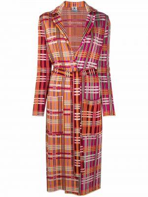 Оранжевое длинное пальто с принтом классическое M Missoni