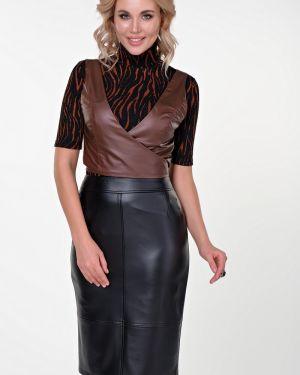 Зауженная юбка карандаш с разрезом с рукавом 3/4 из искусственной кожи Valentina