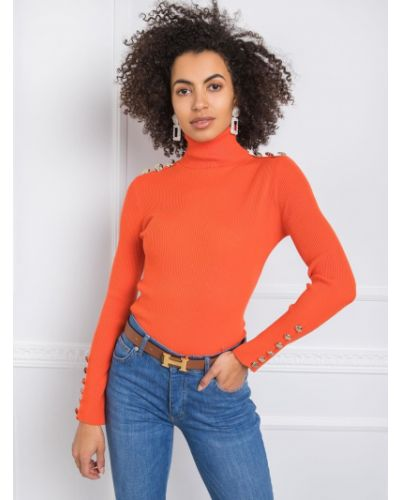 Pomarańczowy sweter z wiskozy Fashionhunters