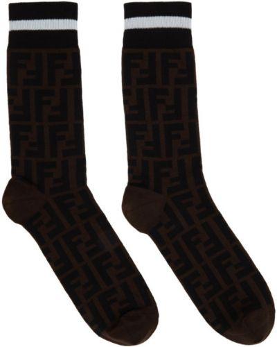 Czarne wysoki skarpety bawełniane Fendi