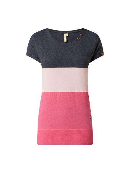 Różowy t-shirt bawełniany zapinane na guziki Alife And Kickin