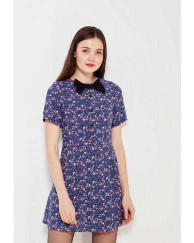 Прямое синее платье ли-лу