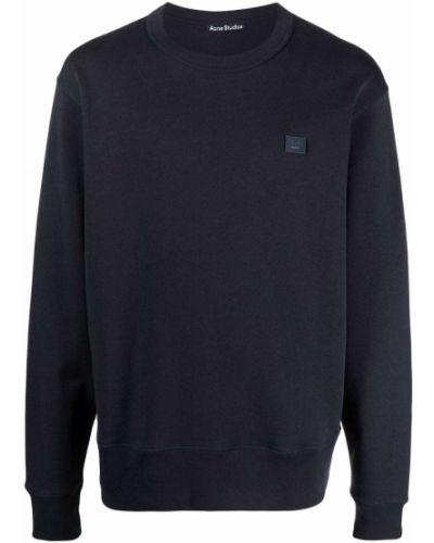Niebieska bluza długa z długimi rękawami bawełniana Acne Studios