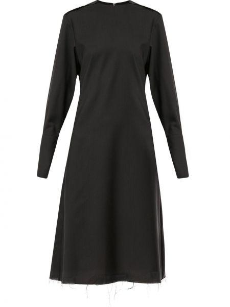 Шерстяное черное платье миди на пуговицах с вырезом Yang Li