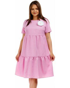 Повседневное платье мини - розовое Liza Fashion