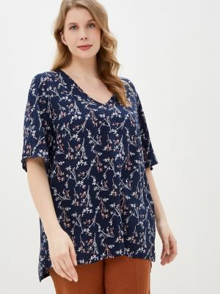 Блузка с коротким рукавом синяя весенний Junarose