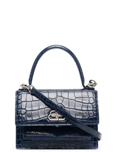 Синяя сумка-тоут металлическая с карманами Balenciaga