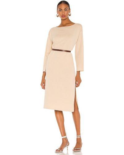 Włókienniczy beżowy światło długo sukienka za pełne L'academie