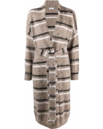 Коричневое прямое пальто Brunello Cucinelli