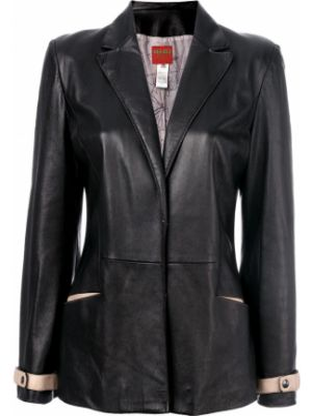 Кожаная куртка черная с карманами Kenzo Pre-owned