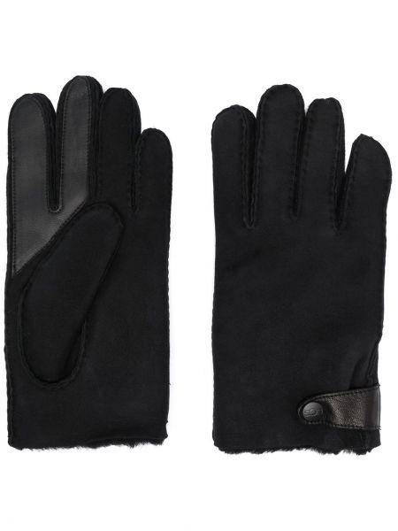 Skórzany czarny rękawiczki prążkowany Ugg