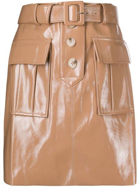 Бежевая прямая с завышенной талией юбка мини с карманами Self-portrait