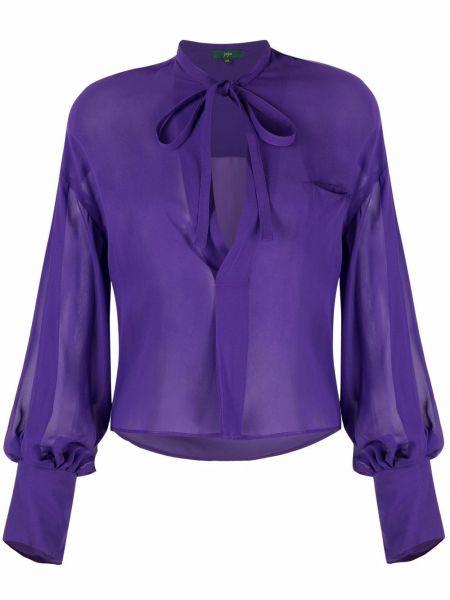 Фиолетовая шелковая блузка с длинными рукавами Jejia