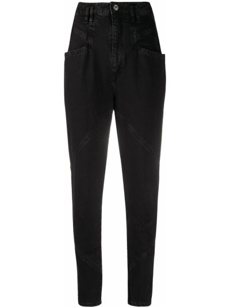 Bawełna bawełna z wysokim stanem jeansy na wysokości z kieszeniami Isabel Marant