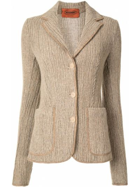 Шелковый коричневый удлиненный пиджак на пуговицах Missoni Pre-owned