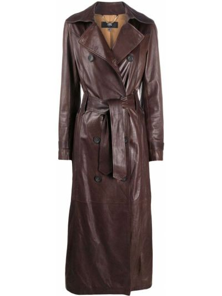 С рукавами коричневое пальто на пуговицах с лацканами Arma