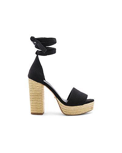 Туфли на каблуке черные с открытым носком Raye