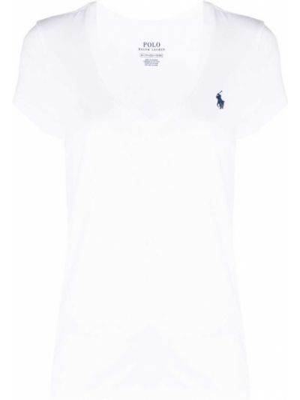 С рукавами белое хлопковое поло Polo Ralph Lauren