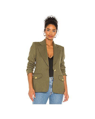 Зеленая куртка с запахом на кнопках с подкладкой Alc