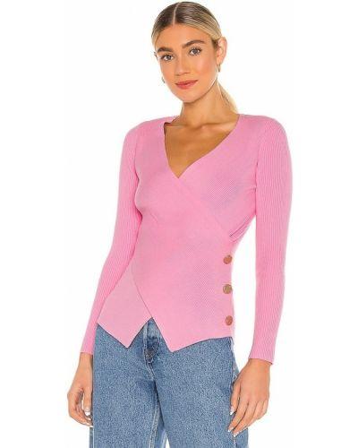 Розовый свитер из вискозы с декольте Milly