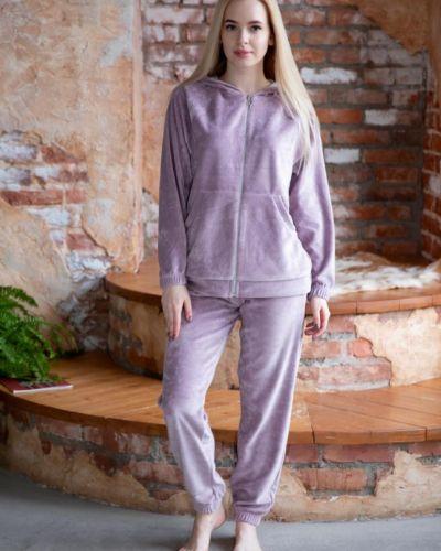 Костюмный велюровый фиолетовый костюм инсантрик