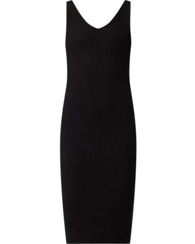 Prążkowana czarna sukienka midi z wiskozy Nümph