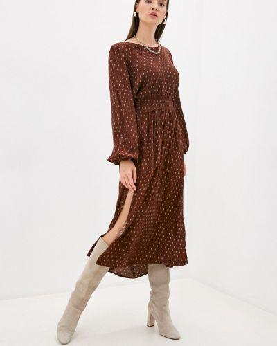 Коричневое прямое платье Ichi
