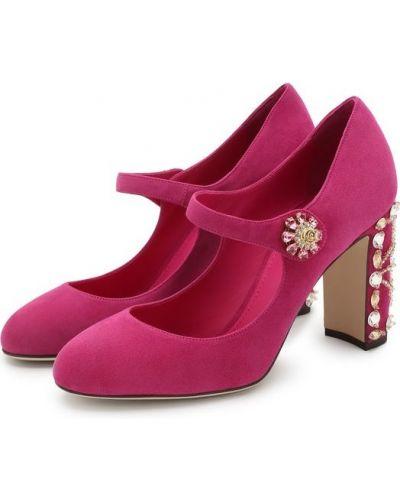 Кожаные туфли замшевые на каблуке Dolce & Gabbana
