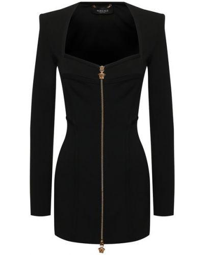 Платье из вискозы - черное Versace