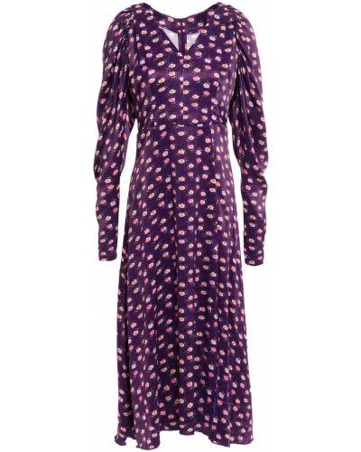 Satynowa fioletowa sukienka midi z printem Rotate Birger Christensen