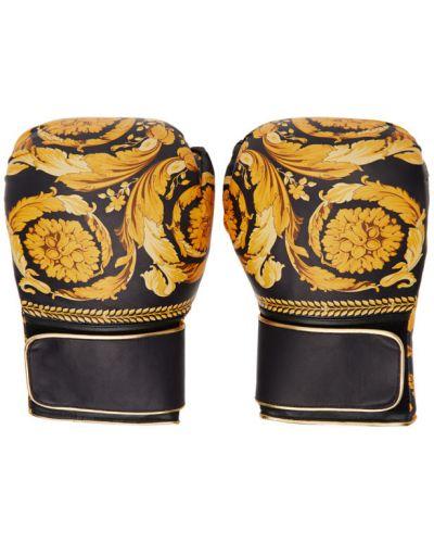 Черные перчатки с подкладкой с манжетами на липучках Versace