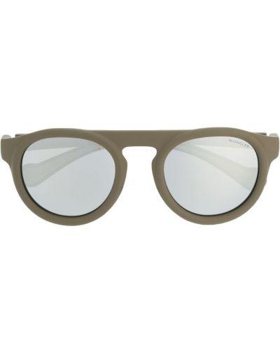 Прямые муслиновые солнцезащитные очки круглые хаки Moncler Eyewear