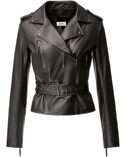 Коричневая кожаная короткая куртка байкерская Izeta