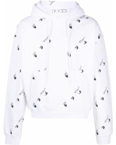 Bawełna z rękawami bluza z kapturem Off-white