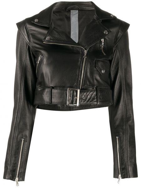 Черная куртка на молнии байкерская узкого кроя Omc