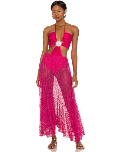 Платье с американской проймой фуксия на крючках с воротом халтер Patbo