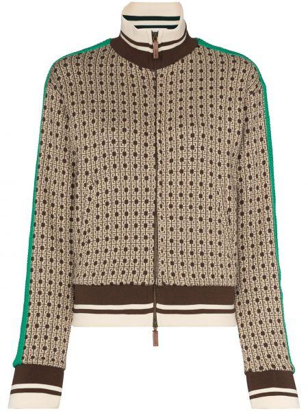 Ватная коричневая длинная куртка с нашивками Wales Bonner