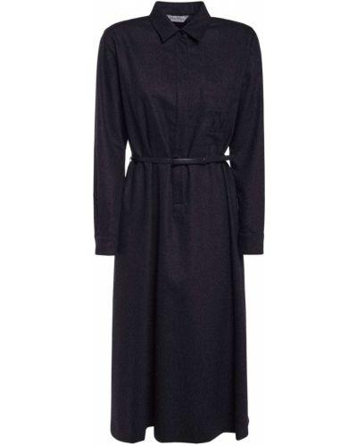 Серое платье с пряжкой на пуговицах Max Mara