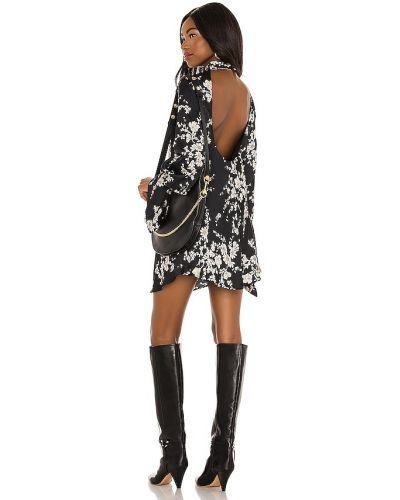 Czarna sukienka mini z falbanami z wiskozy Free People