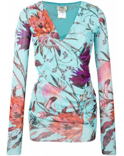 Блузка с длинным рукавом с запахом с V-образным вырезом Fuzzi