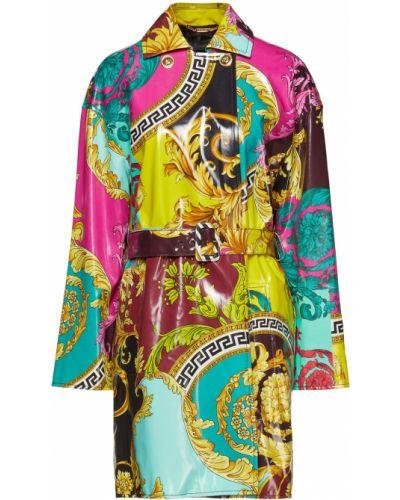 Różowy płaszcz z paskiem z wiskozy Versace