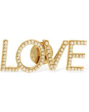 Złota broszka perły Bijoux De Famille