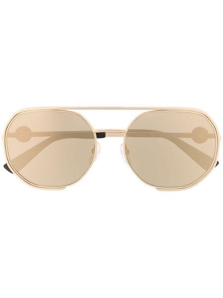 Золотистые прямые желтые солнцезащитные очки металлические Moschino Eyewear