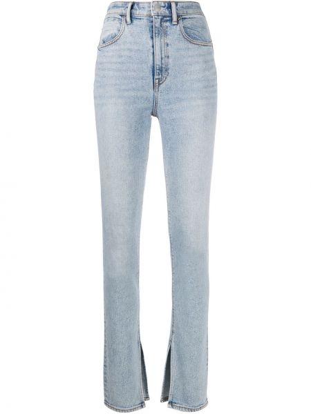 Хлопковые синие джинсы-скинни на молнии узкого кроя T By Alexander Wang