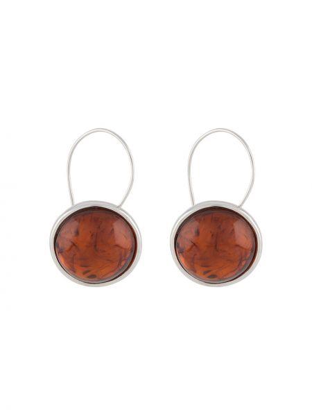 Pomarańczowe kolczyki sztyfty srebrne Bar Jewellery