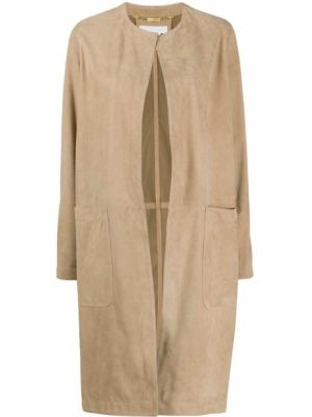 Кожаное длинное пальто с капюшоном с воротником Manzoni 24